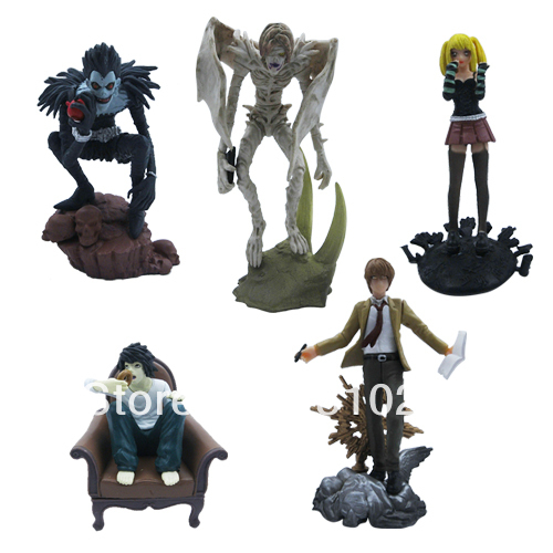 Hot Gift Death Note L Lawliet Misa PVC Figure Set of 5 pcs Wholesale Anime Toys Figures(China (Mainland))