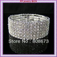 Free Shipping 6PCS/LOT Six Row Sparkling Crystal Elastic Alloy Bracelet For Wedding Bridal