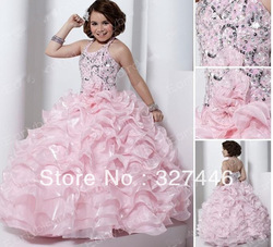 2013 Pageant Dresses Girls Sexy Halter Sequins Bead Organza Ball Gown Flower Girl Dresses Cutom Made Fast Cheap Shipping(China (Mainland))