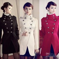 NEW Womens Double-breasted Trench Coat stand collar Military 3 Color