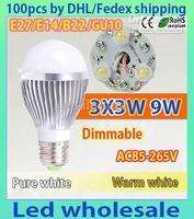 100xBubble Ball Bulb 3LED 9W E27 GU10 High power Ball steep light LED Light Bulbs Lamp Lighting tube
