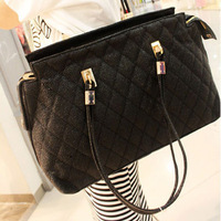Free Shipping Fashion big bags 2013 spring fashion black plaid women's handbag shoulder bag