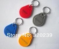100pcs/lot RFID Tag Proximity ID Token Tag Key Ring 125KHZ RFID Card bule red yellow