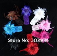 $0.75/pcs,Infant Knitting Hair Weave,Baby Hair Accessiries,Flower With Feather Baby Hairbands,8color can mix,Free shipping