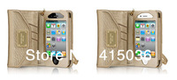 10pcs/lot Freeshipping PU leather fashionable wallet clutch case for iphone 4 4s,luxury portable purse case w/retail box