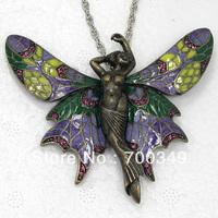 Wholesale 12piece/lot Amethyst Crystal Rhinestone Enameling Fairy Angel Butterfly Pendant Necklace Jewelry F380 D