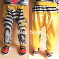2013 spring children's clothing letter child male child baby stripe harem pants long trousers