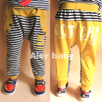 2013 spring children's clothing letter child male child baby stripe harem pants long trousers