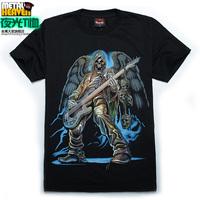 Short-sleeve T-shirt luminous neon t-shirt short-sleeve t shirt male 3d bass rock guitar skull
