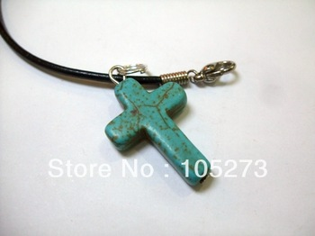 Fashion Turquoise Jewelry 20mm Semi-Precious Stones Sky Blue Cross Turquoise Pendant 18'' Black Rope Necklace New Free Shipping