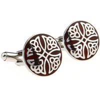 Stainless steel rosewood series of decorative pattern male cufflinks nail sleeve 230094