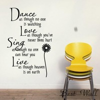 Free shipping ,Dance Daisy wall stickers,home decoration,decorative wall stickers,words 3d wallpaper