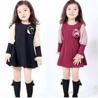 Female child dresses 2013 spring and autumn long-sleeve corsage chiffon one-piece dress princess one-piece dress