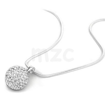 High quality !Free Shipping!10m White Disco Pave Crystal Ball Pendant.DE Silver Plate Chain Shamballa Necklace Wholesale.