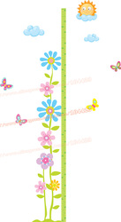 Flower and Sun Box Cartoon Height Measure Children Wall Sticker, 3D 3 Level Paper Kids Home Sticker 160cm(China (Mainland))
