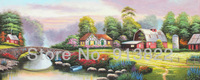 Free Shipping Oil Paintings Handmade Colorful Village  High Q.Thomas Scenery Wall Decoration