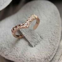 Hot Sale Min Mix Order $10, elegant unique crystal goden/ silver heart finger ring for women