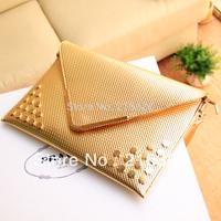 Freeshipping 2013 Fashion Rivet Punk Bag High Quality Designer Envelope Bag Gold Evening Clutch Lady PU Solid Shoulder Bags