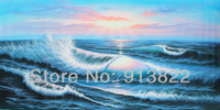 Free Shipping Oil Paintings 100% Handmade on Canvas Ocean Wave  High Q.  Modern Art