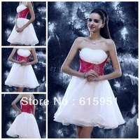 Charming strapless Neckline Beaded Two Color Knee Length Organza Hot Sale Homecoming Dress BD323