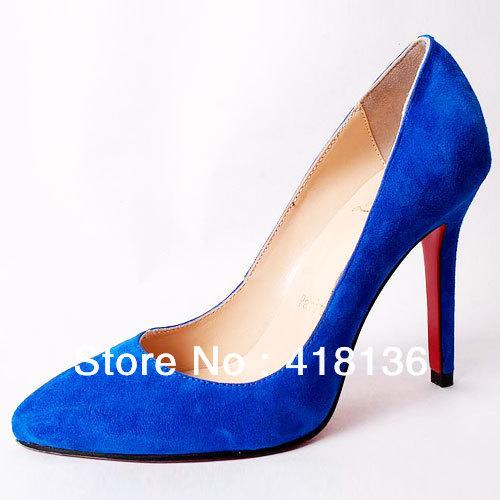 Blue Suede High Heel Shoes