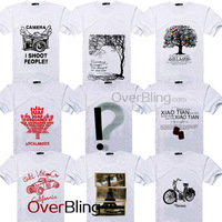 Free Shipping New Brand Mens Short Sleeve Round-neck Cotton t-shirt For Men T Shirts Top Tee Exclamation Mark Letters Printing