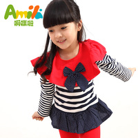 2013 spring and autumn child clothing princess girls stripe baby cape long-sleeve dress 04