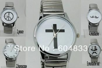 2013 summer popular hat mustache peace ribbon bonjour horoscope cross designs unisex men silver vintage watch