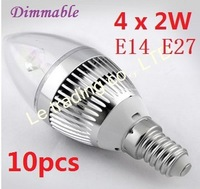 10pcs/lot E14 E27 Dimmable 4X2W 8W 85V-265V Candle LED Lamp LED Light Candle Bulbs With Good Quality Free shipping by DHL