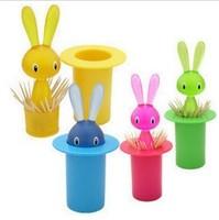 Creative Lovely Rabbit Toothpick Holder Dispenser Toothpick box Free shipping