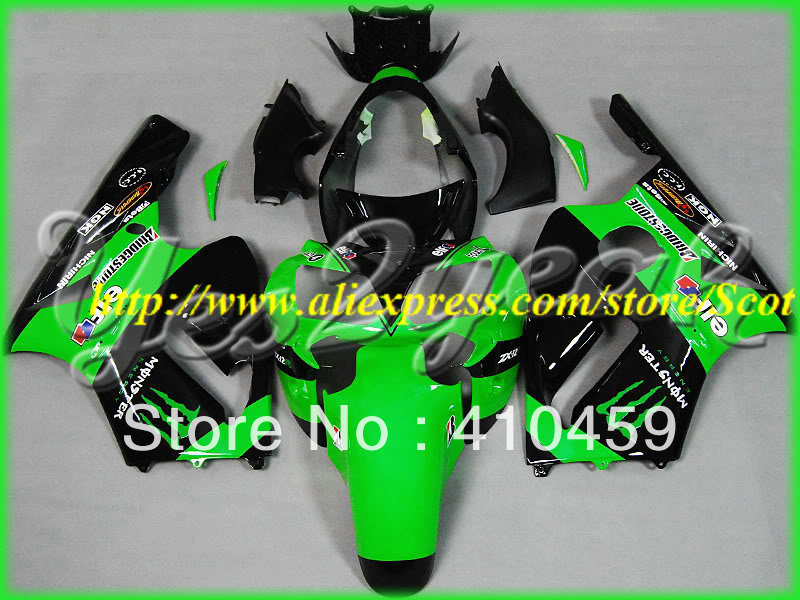 2013 Best Choice green black Fairing kit for KAWASAKI Ninja ZX12R 02 03 04 05 ZX 12R 2002 2005 ZX-12R 02-05 2002-2005(China (Mainland))