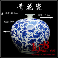 Jingdezhen ceramic vase blue and white porcelain boughed floor modern fashion crafts decoration