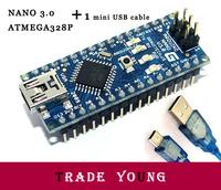 Free Ship Wholesale IC Parts Integrated Circuits Atmel ATmega328 Board with Mini-USB Cable Full Compatible For Arduino Nano 3.0