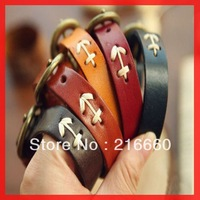 fashion anchor leather bracelet for navy