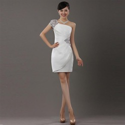 Design short formal dress banquet slim one shoulder evening dress evening dress 2013(China (Mainland))