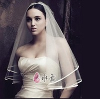 Free shipping! Elegant ribbon border   white  bridal veil for wedding TS038
