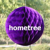 "6"" Purple Tissue Honeycomb Ball Paper Lanterns Home Garden Party Wedding Birthday Bridal Decoration Gift Free Shipping"
