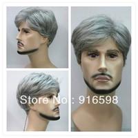 New gray short straight men wig + gift   Y14