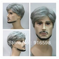 New gray short straight men wig + gift   Y14