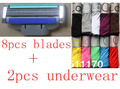 high quality men's blades and  sexy briefs fashion men boxer shorts men's underwear (8pcs blades+2pcs underwear) free shipping