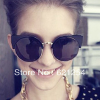 Fashion popular vintage metal box cat-eye round sun glasses  male women's sunglasses