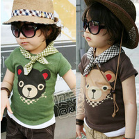 Factory price 5Pcs/lot summer bear carton children's clothing t-shirt  boys clothing kid's short-sleeve T-shirt Free shipping