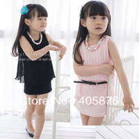 Korean children&#39;s wear factory direct supply summer, girls vest Pleated Chiffon Dress ( send belt )