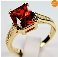 Sz7/89/10 Brand new Jewelry beautiful ruby  lady's  10KT yellow Gold Filled Ring Gift  1pc Freeshipping