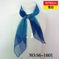 Blue flower in square small facecloth silk scarf chiffon