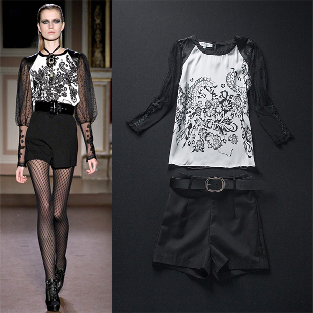 2013 spring and summer women's fashion ruslana korshunova lace patchwork silk print top shorts twinset(China (Mainland))
