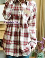 Spring and autumn plaid shirt women long-sleeve women shirt Korea style plus size leisure dress XC-020