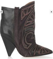 Isabel marant genuine leather color block decoration taper with fashion autumn and winter female boots