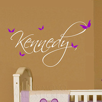 Butterfly Name Baby Girl Wall Decal Nursery Vinyl Sticker Decor, Kids Wall Art  35*60CM  Free shipping
