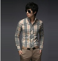 all-match color slim long-sleeved checked dress shirts designer best brand checked dress shirts for men